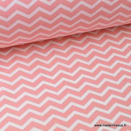 Tissu coton oeko tex imprimé chevrons zigzag Corail au mètre