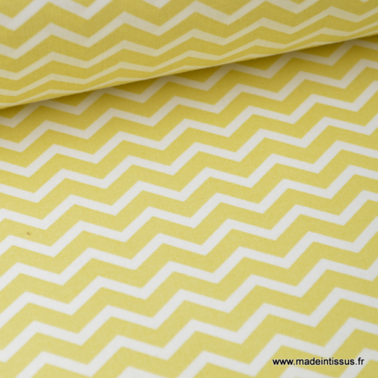 Tissu coton oeko tex imprimé chevrons zigzag jaune Citron au mètre