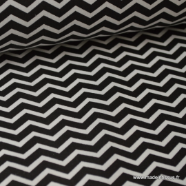 Tissu 100% coton dessin zigzag chevrons noir