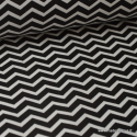 Tissu cretonne coton dessin zigzag chevrons noir - Oeko tex