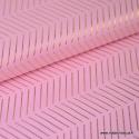 Tissu coton RICO design WONDERLAND fond rose Chevrons Or