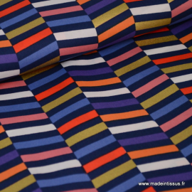 Tissu coton RICO design collection BOUQUET SAUVAGE chevrons multicouleurs et Or