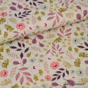 Tissu coton RICO design collection BOUQUET SAUVAGE fleurs menthe et rose