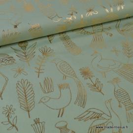 Tissu coton RICO design collection ALPACA imprimé Oiseaux et fleurs menthe et doré