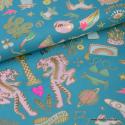 Tissu coton RICO design WONDERLAND Tigre, licornes, arc en ciel...