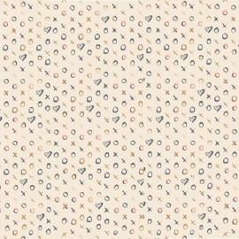 Tissu Popeline coton imprimé Coeurs et croix rose et bleu ART GALLERY DESIGNER  .x1m