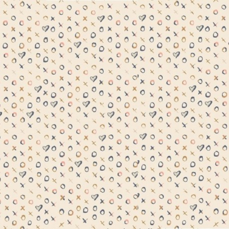 Popeline coton imprimé Coeurs et croix rose et bleu ART GALLERY DESIGNER  .x1m