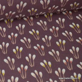 Tissu coton imprimé Fleurs fond Lie de Vin Oeko tex
