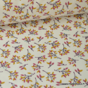 Tissu coton imprimé Fleurs Prune et et Canelle Oeko tex