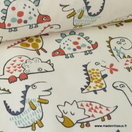 Tissu coton imprimé Dinosaures fond écru Oeko tex