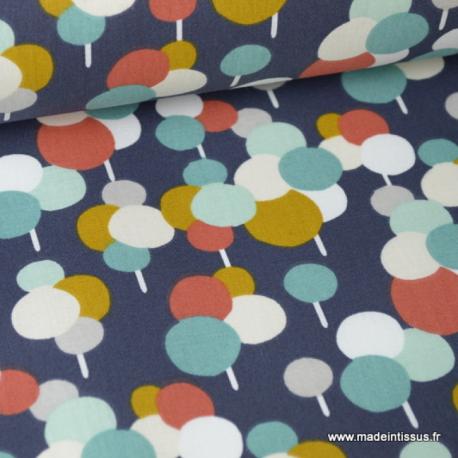 Tissu coton imprimé rond fond marine Oeko tex