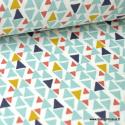 Tissu coton imprimé triangles Menthe Oeko tex