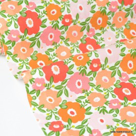 Tissu Cretonne coton imprimé fleurs Camille Pomelos