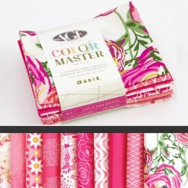 Lot de 10 coupons de tissus en Coton ART GALLERY thème Rose