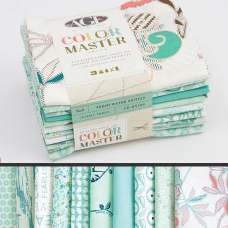 Lot de 10 coupons de tissus en Coton ART GALLERY thème Menthe