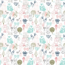 Tissu Coton imprimé lapins, renards, poules et arbres coll. Little Thicket by 3 Wishes .x1m