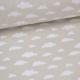 Tissu coton oeko tex imprimé nuages blancs sur fond beige