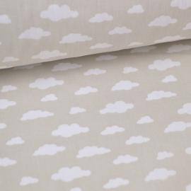 Tissu 100%coton dessin nuages blancs sur fond beige