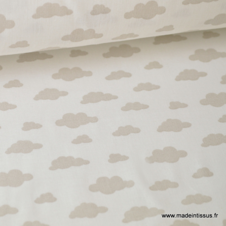 Tissu coton oeko tex imprimé nuages beige sur fond blanc