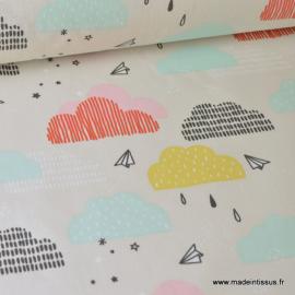 Tissu 100%coton imprimé Nuages et avions papier  x1m