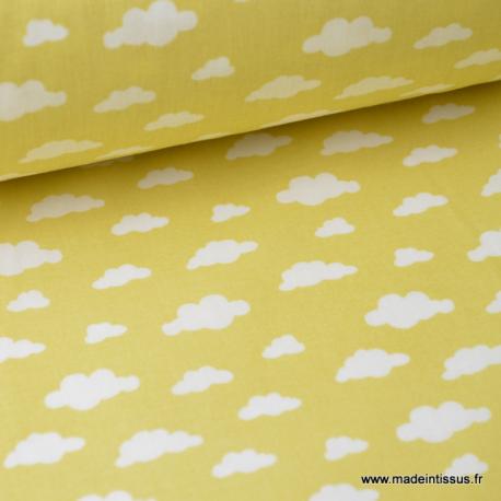 Tissu coton oeko tex imprimé nuages blancs sur fond CITRON x50cm
