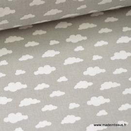 Tissu coton oeko tex imprimé nuages blancs sur fond gris