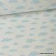 Tissu coton oeko tex imprimé nuages ciel sur fond blanc