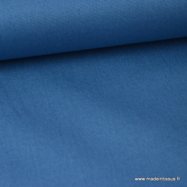 tissu Popeline coton oeko tex uni bleu indigo