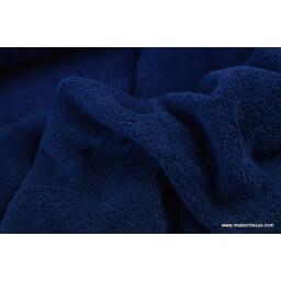 Tissu Eponge coton marine lisiere cousue ferméeau mètre