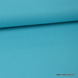 Tissu Popeline coton oeko tex uni turquoise