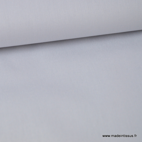 Tissu Popeline coton oeko tex uni gris clair au mètre
