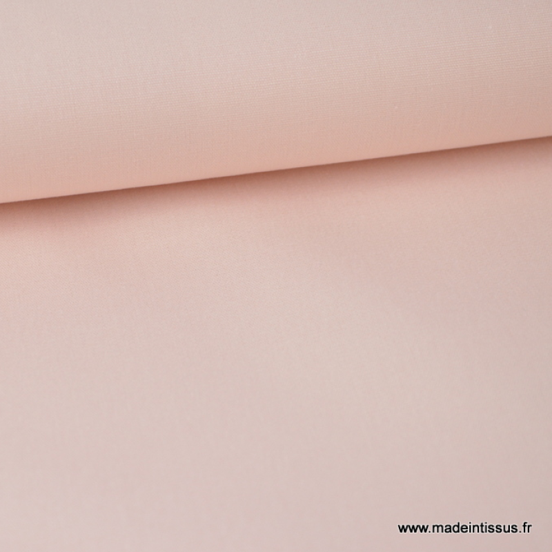 Tissu Popeline de coton uni rosé poudré Oeko tex