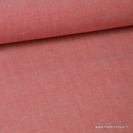 Tissu popeline coton uni tissé teint chambray coloris Rouge