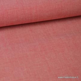 Tissu popeline coton oeko tex uni tissé teint chambray coloris Rouge au metre