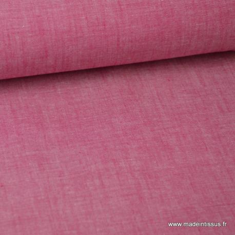 Tissu popeline coton uni tissé teint chambray coloris Cerise x1m