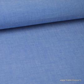 Tissu popeline coton uni tissé teint chambray coloris Bleu x1m