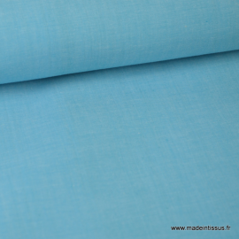 Tissu popeline coton uni tissé teint chambray coloris Turquoise x1m