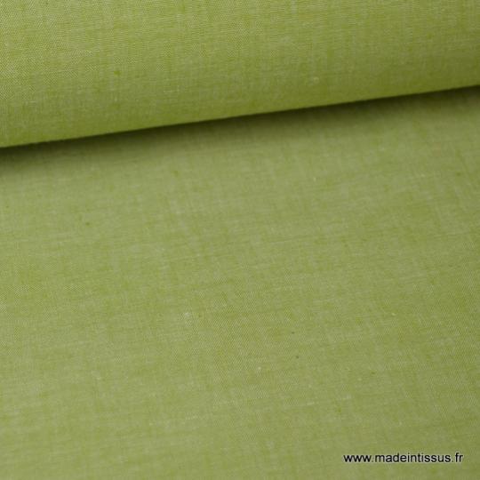 Tissu popeline coton uni tissé teint chambray coloris Fenouil x1m