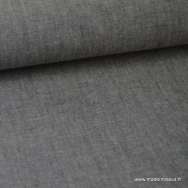 Tissu popeline coton uni tissé teint chambray coloris Noir x1m