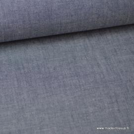 Tissu popeline coton uni tissé teint chambray coloris marine - Oeko tex