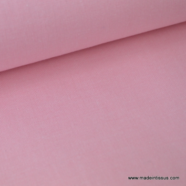 Tissu popeline coton uni tissé teint chambray rose . x1m