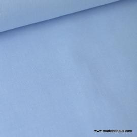 Tissu Popeline coton uni tissé teint chambray bleu ciel . x1m