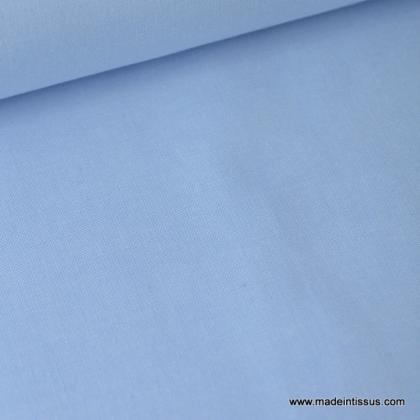 Tissu Popeline coton oeko tex bleu ciel au mètre