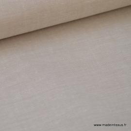 Tissu popeline coton uni tissé teint chambray coloris sable/taupe/beige . x1m