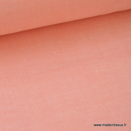 Tissu popeline coton uni tissé teint chambray coloris Corail . x1m