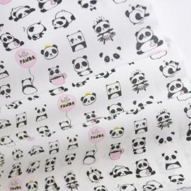 Tissu popeline coton imprimé pandas noirs et roses
