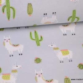Tissu jersey imprimé Lamas et Cactus gris