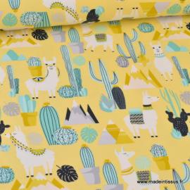 Tissu jersey imprimé Lamas, montagnes et Cactus jaune, vert et gris