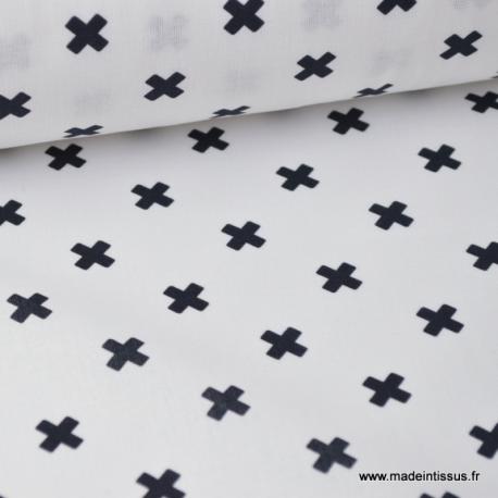 Tissu popeline coton imprimé croix noires fond blanc