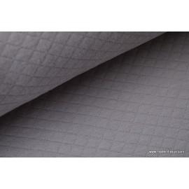 Tissu Jersey coton matelassé 1x1 gris pour confection habillement .x1m